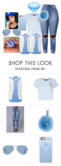 """""""JORDAN23"""" by stawberrybaby ❤ liked on Polyvore featuring New Look, Fendi, Ray-Ban and Casetify"""