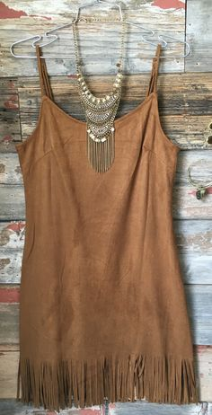 The My Best Fringe Dress in Camel is absolute perfection! With a lovely olive hue, fringe along the hemline, and suede feel, you will love how this dress looks and feels. The skinny straps are adjusta