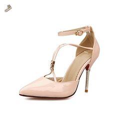 BalaMasa Girls Bandage Pointed-Toe Pink Patent Leather Pumps-Shoes - 5 B(M) US - Balamasa pumps for women (*Amazon Partner-Link)