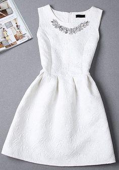 White Plain Pleated Rhinestone Round Neck Sleeveless Mini Dress - Mini Dresses - Dresses