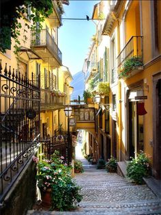 beautiful street scene in northern Italy