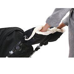 Baby Erstausstattung Winter IntiPal Extra Dick Handwärmer Handschuhe Handmuff für Kinderwagen Buggy Kinderwagenmuff (Schwarz)