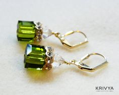 Lovely handcrafted Olivine Swarovski cube earrings for the gorgeous you. These elegant Swarovski cube earrings make for wedding and bridal party accessories. $21.00