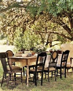 we have these to go with our farm tables. mismatched wooden chairs. Love them!