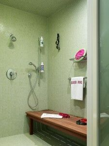 tile design, dog shower, specialty shower design