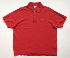 LACOSTE MENS 6 L large RED POLO GOLF SHIRT #R #PoloRugby