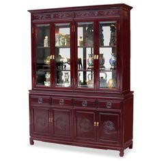 60in Rosewood Longevity Motif China Cabinet - A grand curio cabinet to display your treasured collectibles. Hand-carved Longevity emblems decorated the entire cabinet. Made of solid rosewood with traditional joinery techniques by artisans in China