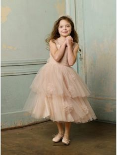 Spaghetti Straps Ball Gown Sleeveless Tea-length Tulle Girls Party Dresses #WX348