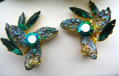 Vintage Signed BEAUJEWELS Earrings Sparkly Emerald by NfrKaVintage, $31.50