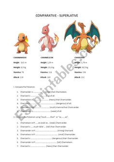 Compare the Pokemon worksheet