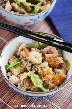 Shrimp and Veggie Fried Quinoa |Gluten-Free | Queen of Quinoa. Ingredients: quinoa, shrimp, snow peas, bell pepper, mushrooms, onion, garlic, eggs, soy sauce, ginger, pepper, chili garlic sauce (optional)