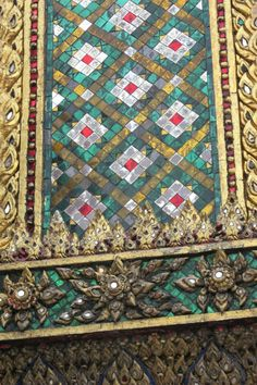 This was the inspiration at Temple of Emerald Buddha in Bangkok for MeadowLyon's Temple Mosaic quilt pattern.