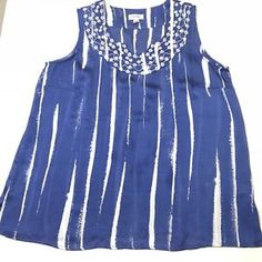 323a38959bd925 Women's Plus Size 18/20 Avenue Blue Embroidered Sheer Sleeveless Blouse Top