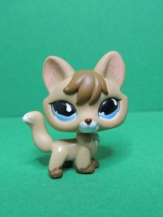 #673 Renard brown & caramel Fox blue eyes LPS Littlest Pet Shop Figure Figurine
