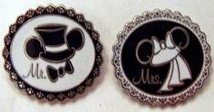 Disney WDW Mr. Groom Mrs. Bride Wedding Mickey Ear Hat #2 Pin Set New On Card