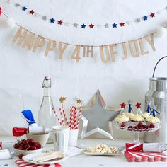 Happy 4th of July! This gorgeous garland is perfect to celebrate this special day. Featuring letter pennants beautifully crafted in pale wood with decorative pompoms in red, white and blue. Suspended on a length of red and white stripy string. 13 wooden letter & 6 yarn pompom pennants Pre-strung on red bakers twine Product length: 6' Fourth Of July Decor, 4th Of July Celebration, 4th Of July Party, July 4th, Polka Dot Cupcakes, Blue Cupcakes, Patriotic Party, Happy 4 Of July, Sparklers
