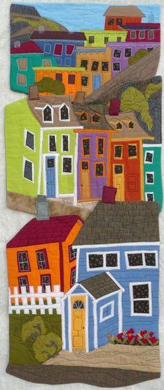 Las casas colindantes están colores diferentes.