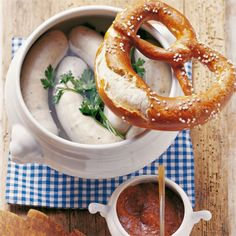 Weisswurst and a pretzel (Bavaria, Germany)