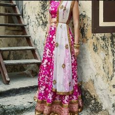 Are you obsessed with flowery lehengas. Try this stylish pink and white color lehanga.   #Flowers #Pink #White #Color # Floral #Lehanga In short grab it now.