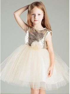 A-Line/Princess Scoop Neck Short/Mini Flower(s) Satin Cotton Tulle Sleeveless Flower Girl Dress Flower Girl Dress