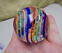 """HUGE Stunning 2"""" Handmade Art Glass Multi Color Swirl & Gold Dusted Marble  #Artglass #Handmade"""