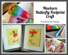Newborn Footprint keepsake Butterfly Art craft. These would make such a bright and happy present for special family members. #Craft #Keepsake #Butterfly #Footprint