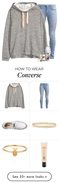 """""""When you're happy it's Friday, but then you realize spring break is almost over"""" by evieleet on Polyvore featuring 7 For All Mankind, H&M, Converse, MAC Cosmetics, Lee Renee and Kate Spade"""