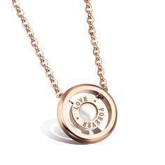 Forever Love Woman Romantic Pure White Shell Rose Gold Plated Women Jewelry Pendant Necklaces GX981