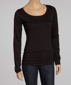 Take a look at this Black Scoop Neck Tee by Survival on #zulily today!