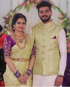 South Indian Wedding Saree, Wedding Dresses Men Indian, South Indian Bride, Saree Wedding, Indian Men Fashion, Indian Bridal Fashion, Bridal Blouse Designs, Saree Blouse Designs, Half Saree Lehenga