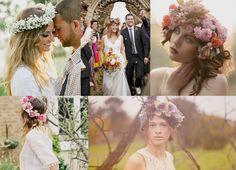 Boho floral hair wreaths for Midsummernight's dream ethereal/bohemian bridal shower Boho Bride, Boho Wedding, Dream Wedding, Unique Flower Arrangements, Hair Wreaths, Floral Headpiece, Bride Accessories, Wedding Hairstyles, Wedding Inspiration