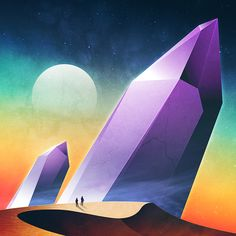 An ongoing personal art series exploring the style and form of science fiction landscapes and giant abstract monuments.