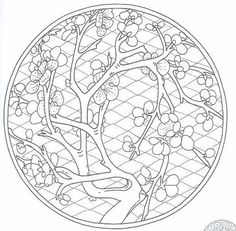 Chinese Cherry Blossom 🌸 Mandala 🌸 Coloring Pages Mandala Coloring Pages, Coloring Book Pages, Printable Coloring Pages, Coloring Sheets, Chinese Cherry Blossom, Cherry Blossoms, Chinese Patterns, Chinese Embroidery, Chinese Symbols