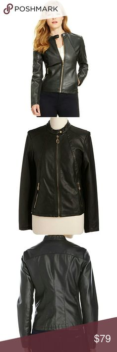 "JUST INIVANKA TRUMP FAUX LEATHER MOTO JACKET IVANKA TRUMP LIKE NEW SIZE SMALL COLOR BLACK GOLD DETAIL ZIPPERS W/CRYSTAL PULLS (3 TINY STONES MISSING ON CENTER ZIP-CAN BE REPLACED EASILY) FAUX LEATHER, LINING-POLYESTER, TRIM-RAYON/COTTON/SPANDEX FRONT ZIPPER POCKETS BAND COLLAR W/SNAP CLOSURE ZIPPER FRONT FULL CLOSURE LONG SLEEVES W/TEXTURED SIDE PANELS FULLY LINED MOTORCYCLE STYLE APPROX LENGTH 22"" BEAUTIFULLY MADE AND STYLISH! *NO TRADES NO RETURNS* Ivanka Trump Jackets & Coats"