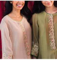 Best 11 Elegant hand embroidery ♡♡ – Page 307863324528820391 Dress Neck Designs, Designs For Dresses, Blouse Designs, Indian Designer Outfits, Indian Outfits, Designer Dresses, Indian Dresses, Simple Kurta Designs, Kurta Designs Women