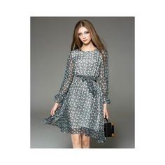 Long Sleeve Round Neck Floral Print Belted Dress ($66) ❤ liked on Polyvore featuring dresses, vipme, long sleeve floral dress, flower print dress, checkered dress, longsleeve dress and belted floral dress