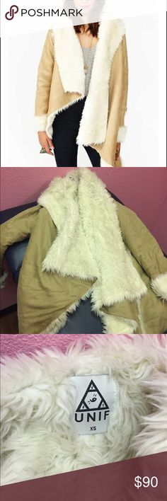 UNIF Chelsea shearling coat Barely worn, wrinkled from storage. Tan beige color UNIF Jackets & Coats