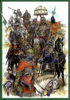 Mongol general or Khan, in the foreground are some eastern European ally warriors Medieval Armor, Medieval Fantasy, Historical Art, Historical Pictures, Military Art, Military History, Larp, Dark Ages, Middle Ages