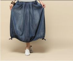 old blue - loose cotton linen skirt