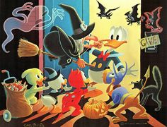 Carl Barks Trick or Treat painting   by Tom Simpson