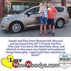 Joseph and Elisa knew it was time to upgrade from their small car to a spacious and luxurious Chrysler Pacifica! Congratulations! 🎉 #wow #wowwoodys #woodysautomotive #cars #trucks #suvs #carsforsale #trucksforsale #suvsforsale #kansascity #chillicothe #customerreviews #customertestimonials #wowcarbuying #carshopping #happycustomers #2017chryslerpacifica #chryslerpacifica #chrysler #pacifica