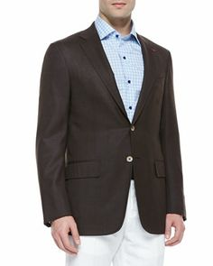Wool Two-Button Blazer, Brown by Isaia at Neiman Marcus.