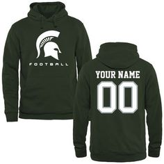 Michigan State Spartans Personalized Football Pullover Hoodie - Green