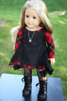 Twirly Dresses, one Plaid and one Black Burnout for AG dolls by sewurbandesigns on Etsy