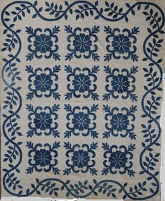 Indigo Sand Dollar Block Hand applique quilt from Ocean Waves Quilt Guild BORDER Old Quilts, Antique Quilts, Vintage Quilts, Quilting Projects, Quilting Designs, Quilting Tips, Hand Quilting, Two Color Quilts, Red And White Quilts