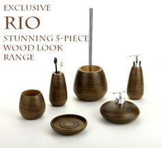 rio wood look bathroom accessories