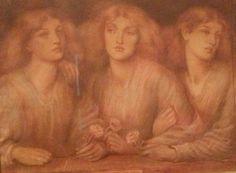 "Dante Gabriel Rossetti ""Rosa Triplex"" 1867 chalk on paper"