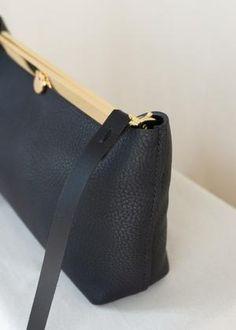 Women's Handbags, Gold Material, Oslo, Clutch Bag, Black Gold, Shoulder Strap, Elegant, Metal, Leather