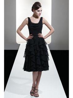Fabulous A-line Square Knee-length Sleeveless Ruffles Chiffon Bridesmaid Dress