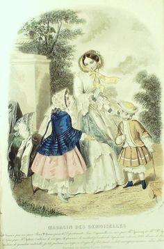 Juni 1852  ++++++++++  GRAVURE de MODE AUTHENTIQUE-X173-MAGASIN DEMOISELLES-ROBES DE CEREMONIE-1850